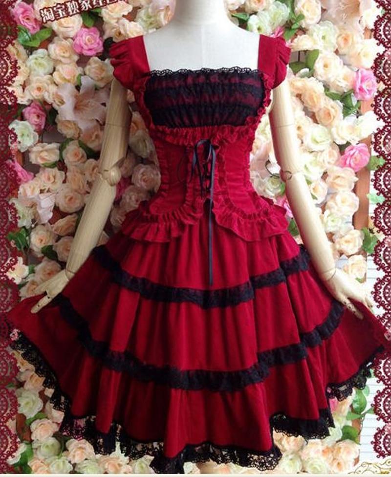 Lolita robe rouge lolita robe princesse avec dentelle vintage fronde robe duveteuse - 2
