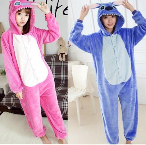 free pp Flannel Stitch Onesie Unisex Adult Blue & Pink Stich Pajamas Cosplay Costume Animal Pyjamas