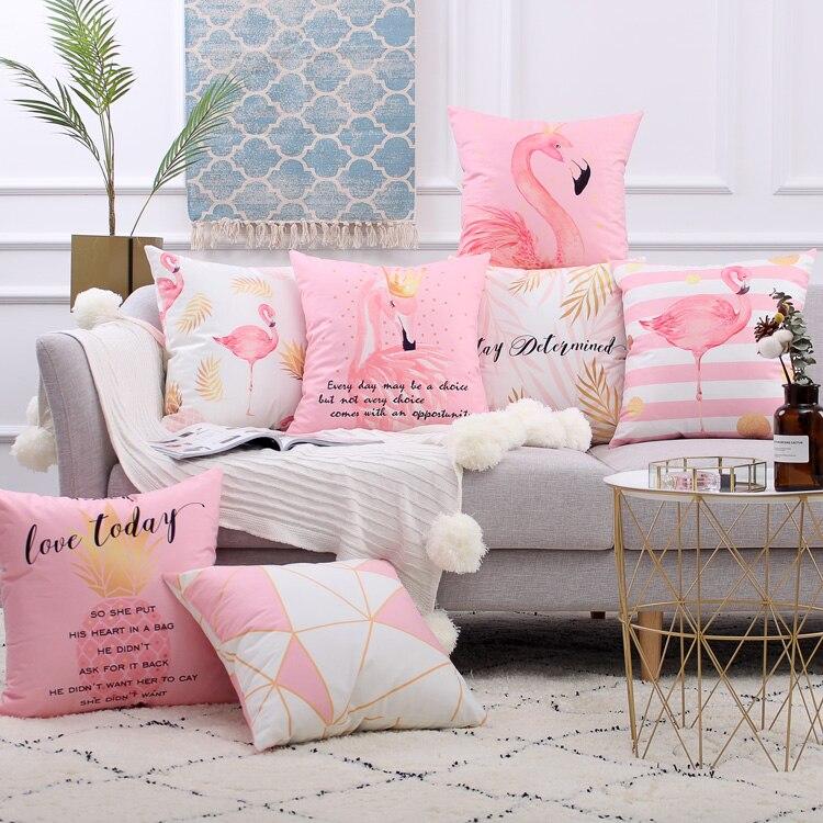 Drop Ship Rose Nordique 2018 Nouveau Coussin Flamant Oreiller Cojines Decorativos Para Canapé Home Decor Voiture Coussin De Salon De Mode