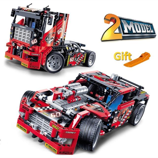 608pcs Race Truck Car 2 In 1 Transformable Model Building Block Sets Decool 3360 DIY Toys Compatible With Legoe Technic 42041