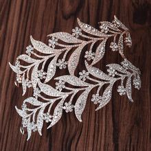 Mansati Luxury Rhinestone Leaf Tiaras and Crowns for Women Wedding Headband Bride Crystal Diadem Hair Jewelry Accessories CR001