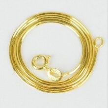 Настоящая 925 пробы Серебряная цепочка Ожерелье для женщин мужчин девочек мальчиков желтое золото цветная змеиная цепь ожерелье модное ювелирное изделие