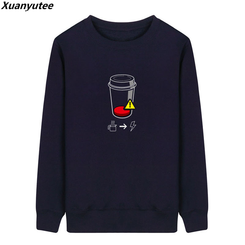 Xuanyutee Geek Fans Funny Embroidery Men Hoodies Autumn Winter Fleece Cotton Flock Print Full Sleeve O-neck Sweat Homme 2XL Navy