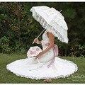 Слоновая кость Белый Свадебный Зонтик Кружева Край Кружева Зонтик Зонтик Свадебные Ручной Ручной лонг-ручка для Новобрачных Свадебное Зонтик