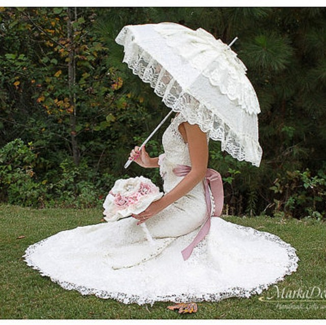 Branco marfim Borda Do Laço Nupcial do Guarda-chuva Do Laço Sun Umbrella Parasol Casamento Artesanal Manual do longa-alça para Nupcial Do Casamento Do Guarda-chuva