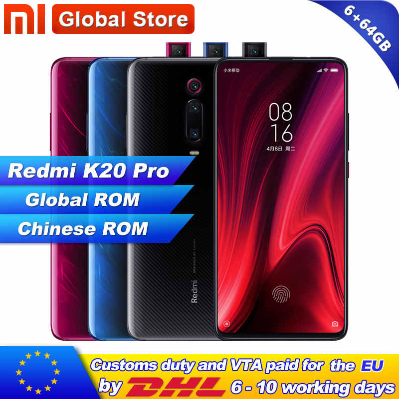 Global ROM Xiaomi Redmi K20 Pro 6GB 64GB Smartphones Snapdragon 855 Octa Núcleo 4000mAh Pop-up frente Câmera Traseira 48MP AMOLED 6.39""