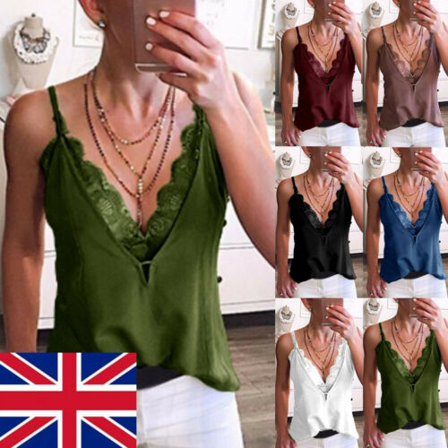 Women Loose Sleeveless Lace Vest Camisole Casual V Neck Tank Tops Blouse T Shirt in Camis from Women 39 s Clothing