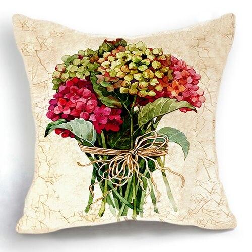 Magnifique Bouquet Fleurs Coton Lin Coushion Couvre Retro Voyantes