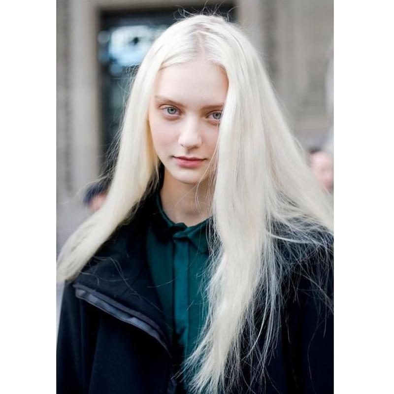 White Blonde Long Wigs 93