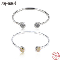 Popular Good Quality Round Heart 925 Solid Silver Open Bangle
