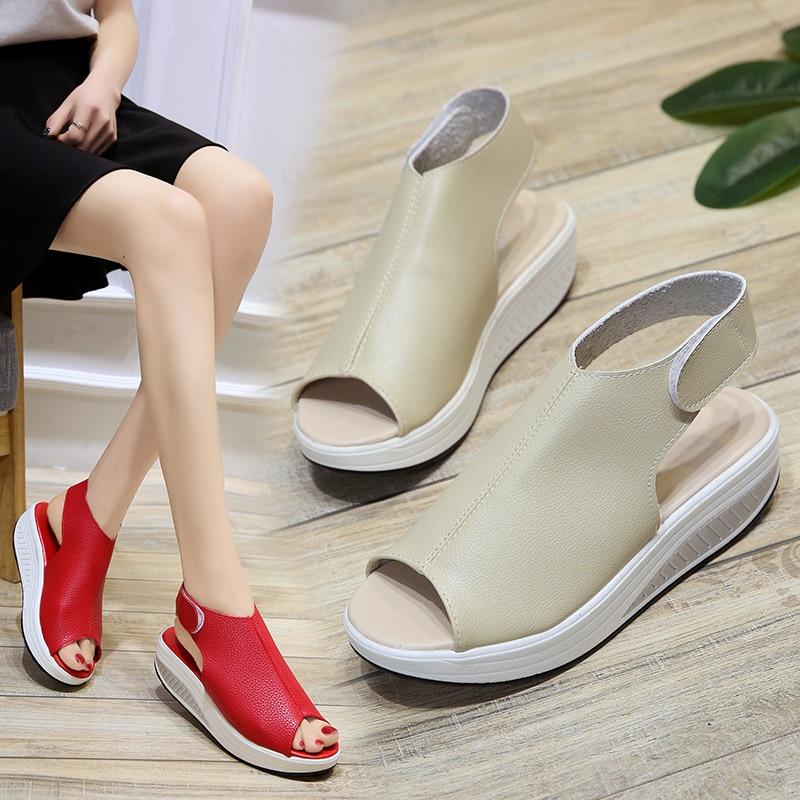 Bomlight Summer Women Wedges Sandals Women Peep Toe Creepers Woman Shoes Platform Sandals Woman Hook Loops Sandalias Mujer 35-43 4