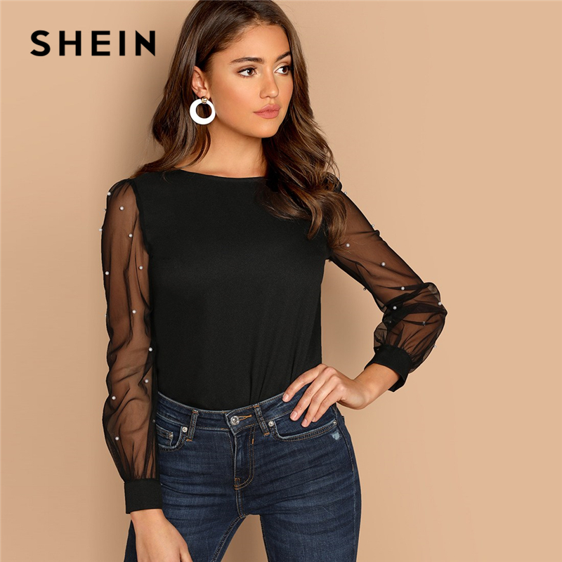SHEIN Modern Lady Black Pearl Beaded Mesh Sleeve Round Neck Plain Top Women Streetwear Autumn Minimalist Elegant Blouse