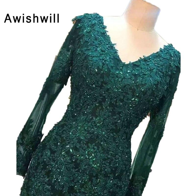 Real Pictures vert émeraude v-cou élégant femmes robe de soirée robe de soirée sirène à manches longues robes de soirée pour formelle 2019 - 3