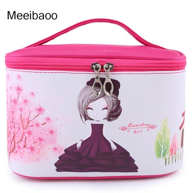 2bdf27aacde2 US $12.99 50% OFF PU leather waterproof cosmetic bag lovable Korean version  large capacity flower girl portable make up bag YD180-in Cosmetic Bags & ...