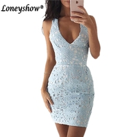 Loneyshow Lace Dress New Year Backless V Neck Beach Summer Dress Women Spaghetti Strap Hollow Out
