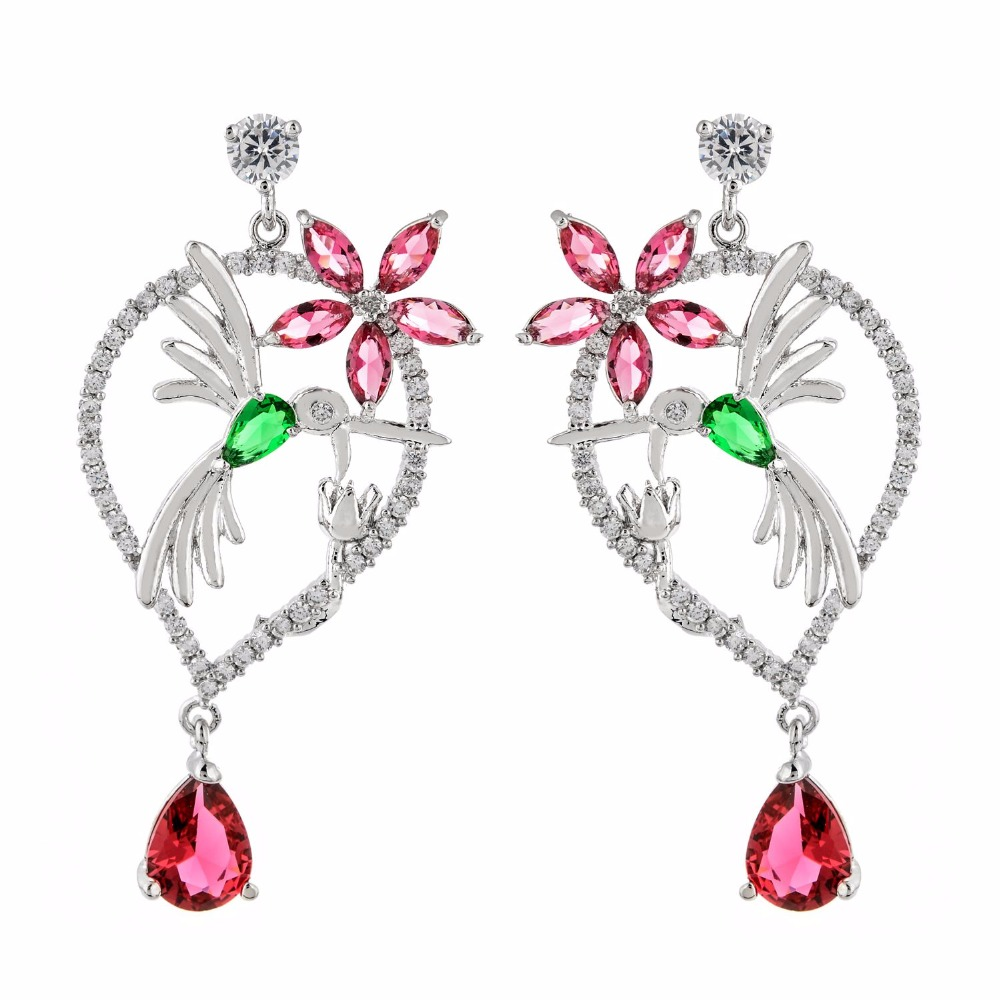 New fashionable and attractive flower bird pear zircon earrings.The bride's upscale jewelry earrings for the girl. ER-221