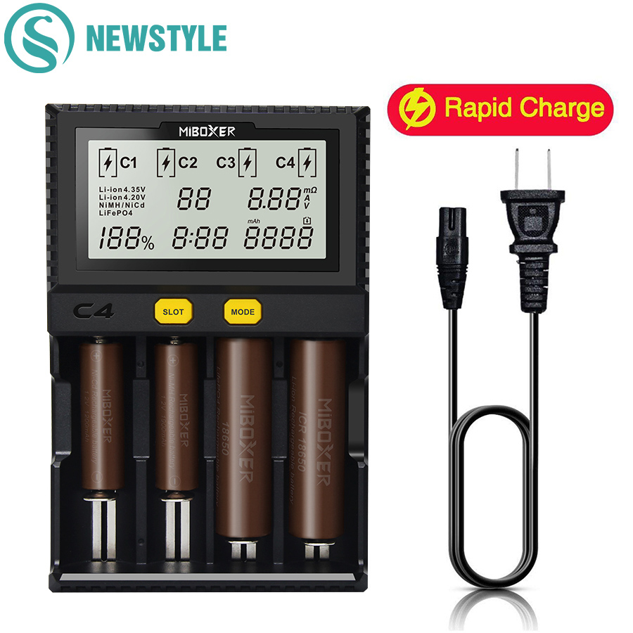 C4 C8 Miboxer Battery Charger for 10340 10440 AA AAA 14500 18650 26650 Battery Charger Universal Charger 4 Channels 8 Channels