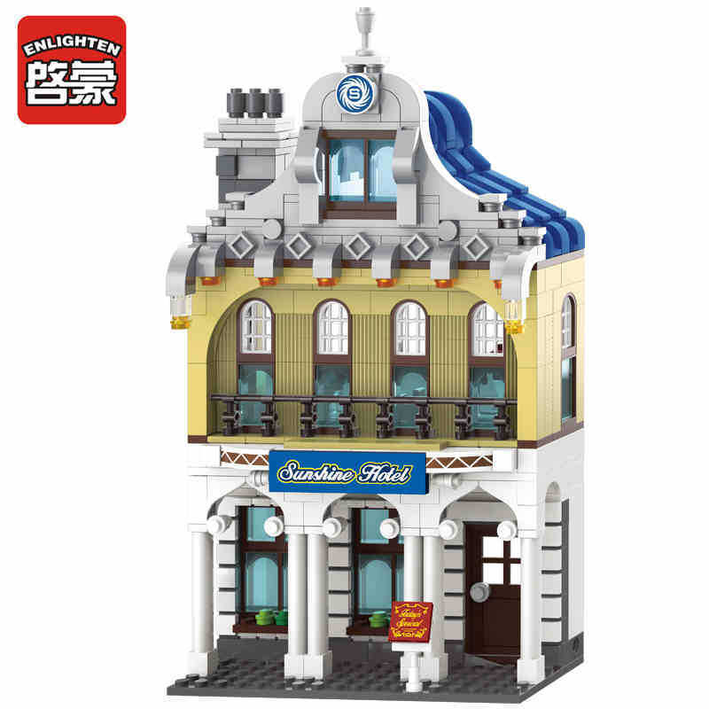 Enlighten Models Building toy Compatible with Lego E1127 628pcs Hotel Blocks Toys Hobbies For Boys Girls Model Building Kits enlighten models building toy compatible with lego e1916 565pcs rescue blocks toys hobbies for boys girls model building kits
