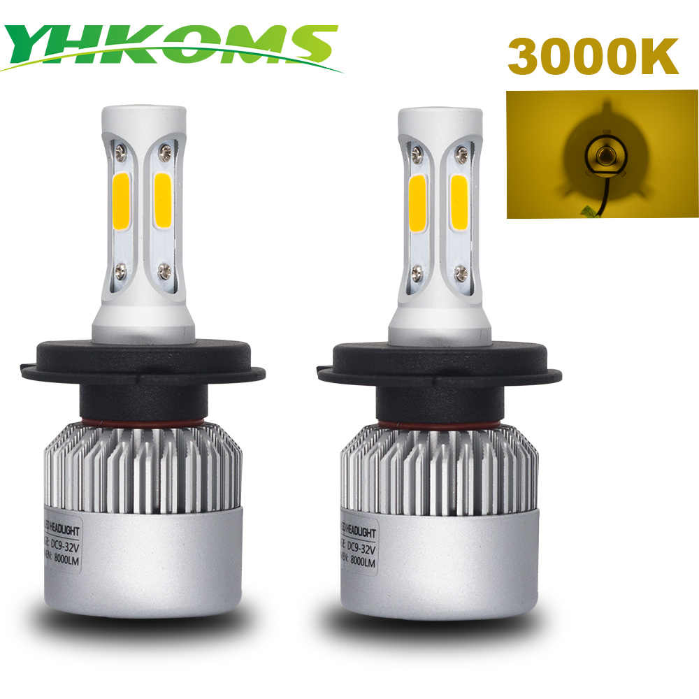 YHKOMS Auto Fog Light H11 LED H4 H7 H8 H9 H11 H1 H3 9005 9006 880 881 3000K Yellow Light Car Headlight  LED Fog Bulbs 8000LM 12V