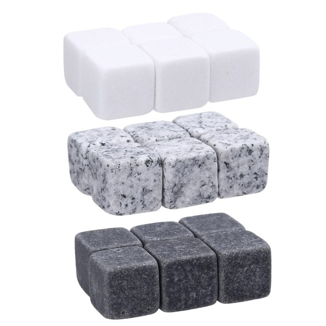 6pcs Natural Whiskey Stones Sipping Ice Cube Whisky Stone Whisky Rock Cooler Wedding Gift Favor Christmas Bar