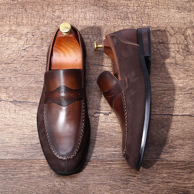 Chaussures hommes italiens en daim chaussures rétro faites à la main en cuir véritable hommes Oxfords