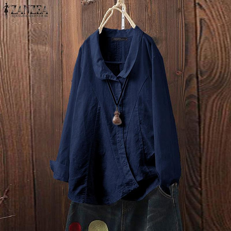 Autumn Women Lapel Neck Long Sleeve Linen Blouse ZANZEA Vintage Tunic Tops Buttons Solid Shirt Casual Work Blusas Femme Robe
