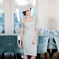 Elegant Mint Green Lace Sheath Mother of the Bride Dresses Knee Length with Three Quarter Satin jacket abito madre della sposa