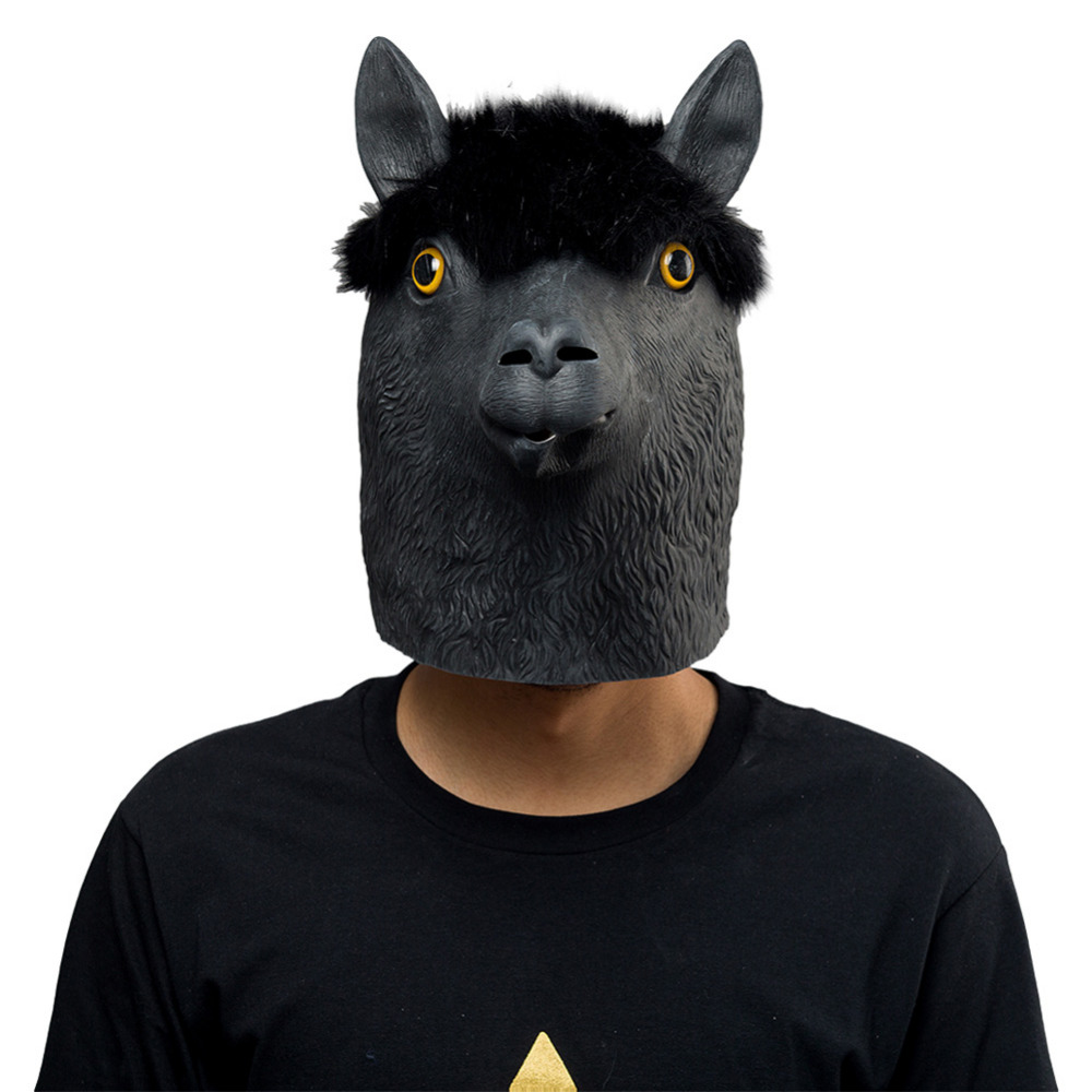 Animal Latex Masks Black Alpaca Sheep Full Face Mask Adult Cosplay Props Cosplay Latex Sheep Mask