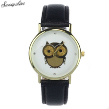1PC Trend Girls Woman Watches Gold Owl Sample Quartz Clock Women WristWatch Leather-based Watch wholesale