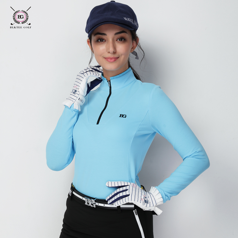 Golf Clothes Women's Autumn and Winter Long-Sleeved Golf Long-Sleeved T-shirt Clothing Women's Stand Collar Shirt stand collar color block and stripe splicing design long sleeve t shirt for men