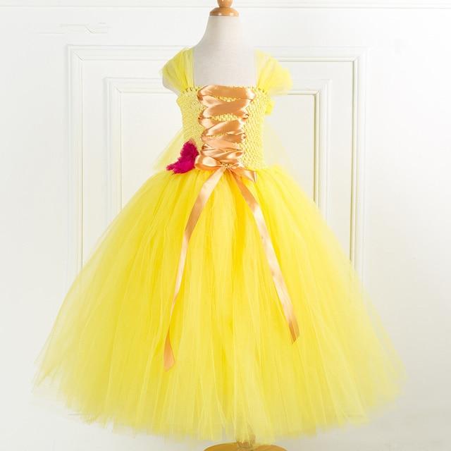 22018c59836 Tulle fleur fille robe de princesse Belle bête de beauté Cosplay Tutu robe  enfants fête carnaval