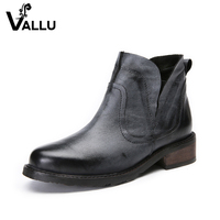New Arrival Ankle Boots Women 2017 Autumn Natural Leather Women Shoes Low Heel Elastic Band Handmade