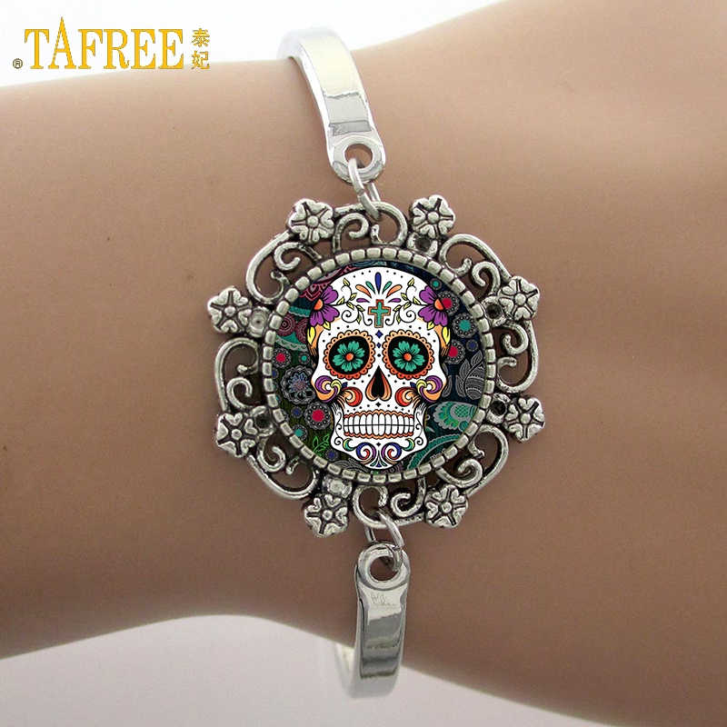 TAFREE Brand fashion Sugar Skull Bracelets Skeleton Glass Gem Lace Charm Photo Jewelry New Fashion Design High Quality Gift SK05