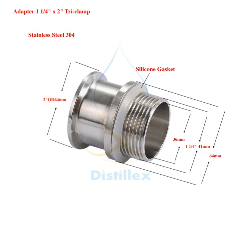 "Adapter 2""OD64mm X 1 1/4"" . Stainless Steel 304 . Length 50mm"