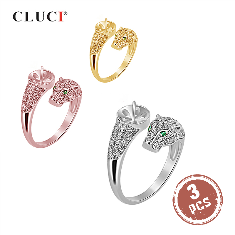 CLUCI 3pcs Authentic 925 Silver Leopard Ring for Women Party Adjustable Sterling Silver Pearl Ring Mounting