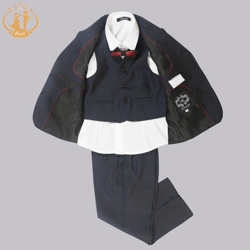 Nimble Brand 2016 Formal Party Tuxedo Clothes Suit Boy Blazer Set Jacket Pant Vest Children Clothing