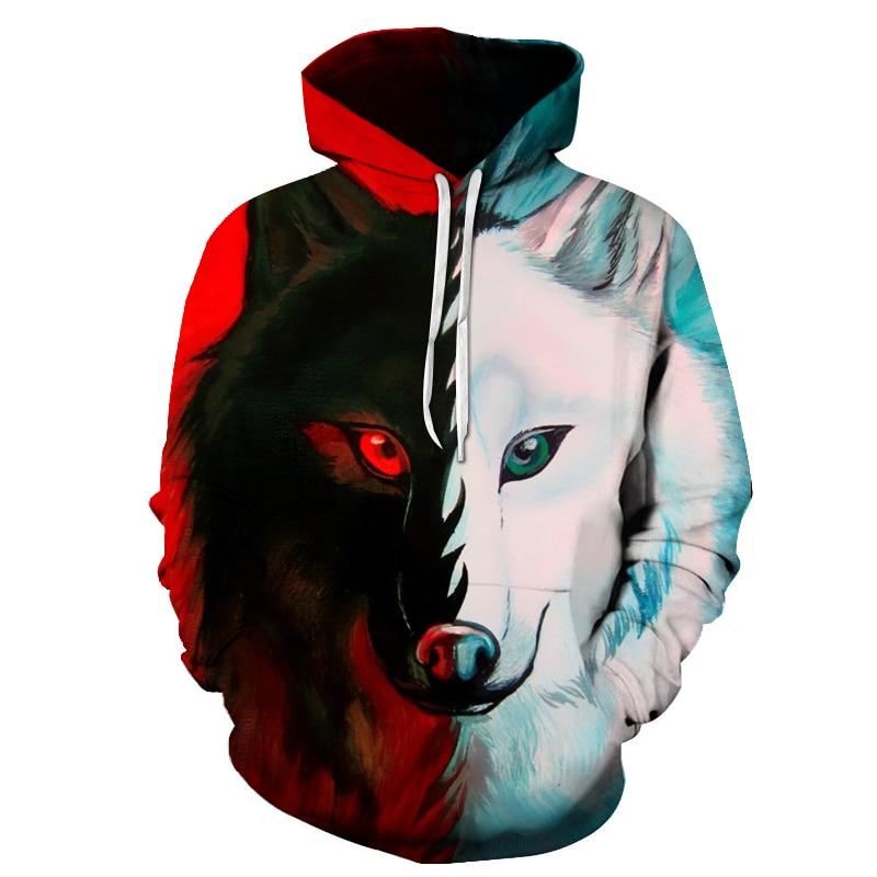 3 Wolf Hoodies Red White