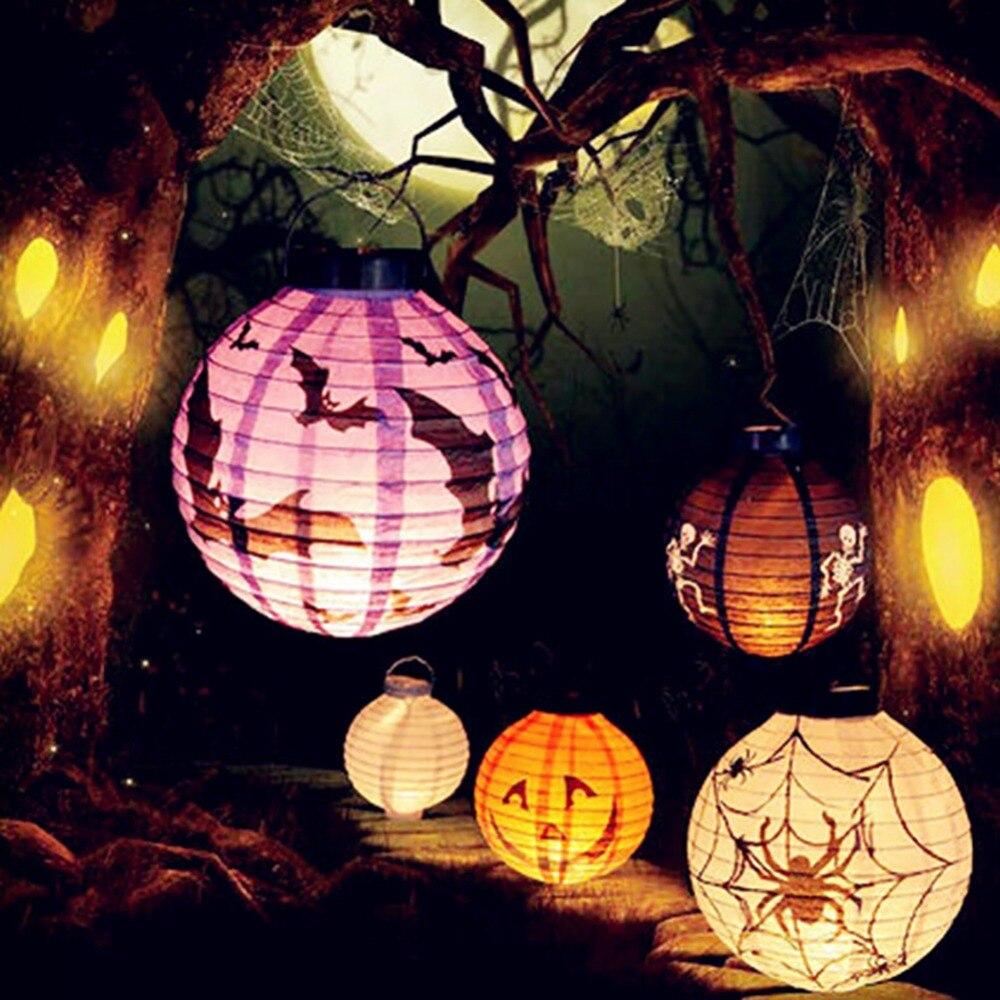 1pcs halloween decoration led paper pumpkin light hanging lantern lamp halloween props outdoor party supplies