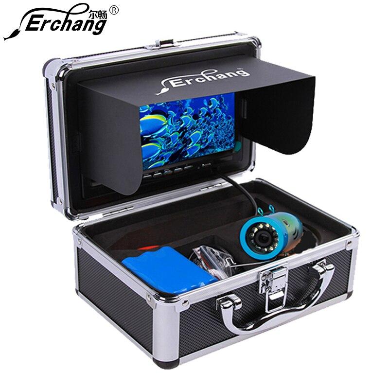 Erchang Visible Fish Finder Cámara 7 ''1000TVL impermeable cámara de pesca submarina 12 piezas lámpara de infrarrojos para el mar pesca