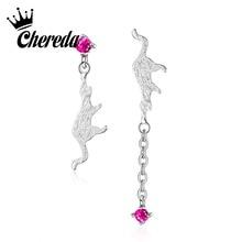 Chereda Pink Lovely Cat Drop Earring  Rhinestones Dangle Earrings Romantic Bar Korean Style Jewelry