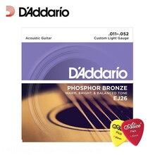 D'Addario EJ26 Phosphor Bronze Acoustic Guitar Strings, Custom Light, 11-52 Daddario Guitar Strings(With 2pcs picks)