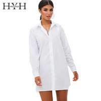 HYH HAOYIHUI Hollow Out Back Sexy Solid White Women Shirt Dress Long Sleeve Ruffles Buttons Female