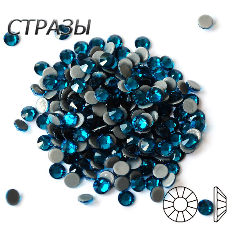 DIY 2058HF Hot Fix Bling Bling High Quality Strass Blue Zircon Iron On Rhinestones Hot fix Rhineston in All Sizes in Rhinestones from Home Garden