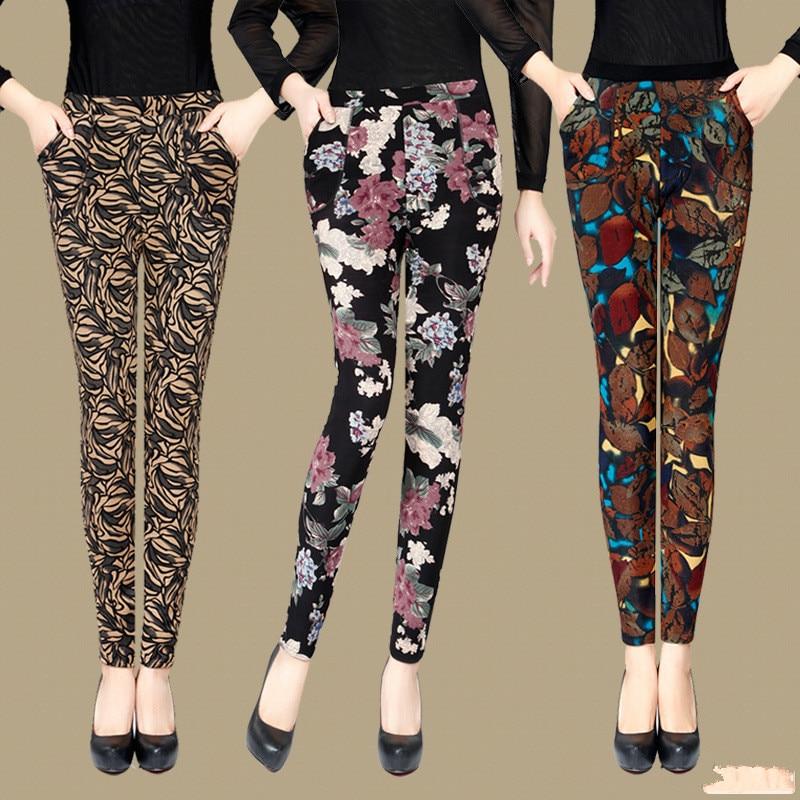New Arrival Autumn winter plus velvet thick   leggings   women plus size XXXL Printing Warm trousers women's pants