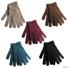 Women Men Unisex Winter Ribbed Knitted Full Fingered Gloves Basic Solid Color Thicken Plush Lining Mittens Magic Thermal Wrist