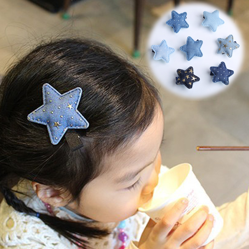 New Fashion Korean Baby Girls Hair Clips Handmade Blue Denim Bow Dots Star Hairpins Kids Children Barrettes Hair Accessories