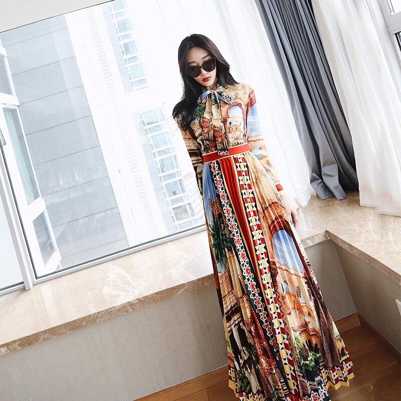 vintage runway fashion designers dresses 2018 women summer boho maxi elegant bohemian beach long rote dresses floor length dress
