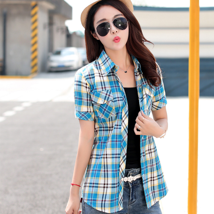 2018 New Summer Style Women Shirts 14colors 100% Cotton Short Sleeve Print Plaid Casual Shirt Bluser Plus Size Topper Klær