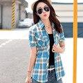 Mulheres moda 2016 estilo verão 14 100% algodão camisa xadrez de manga curta blusas plus size
