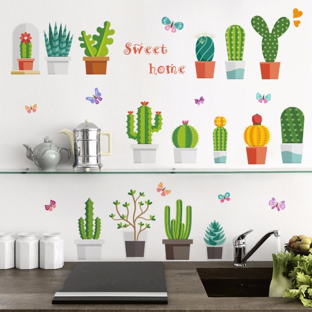3d vivid garden potted plants wall stickers nursery room window